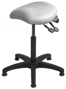 Saddle Stool from ergoCentric. Equipped with Accent Mechanism, Black Base, White Saddle Seat and Glides