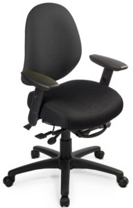 "Saffron Mid Back Ratchet office chair from ergoCentric. Black. Equipped with Multi Tilt Mechanism, 3"" Height Adjustable Oval Tube Adjustable T-Arms, Black Base, Arms and Casters."