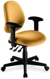 "Saffron Mid Back office chair from ergoCentric. Yellow. Equipped with Multi Tilt Mechanism, 4"" Height Adjustable Oval Tube Adjustable T-Arms, Black Base, Arms and Casters."