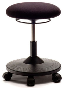 Scooter Stool from ergoCentric. Equipped with Ring Height Adjustment, Black Scooter Base, Seat and Casters