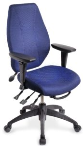 "airCentric office chair from ergoCentric. Blue Airknit Breathable Fabric. Equipped with Multi Tilt Mechanism, 4"" Height Adjustable T-Arm, Black Base, Arms, and Casters."