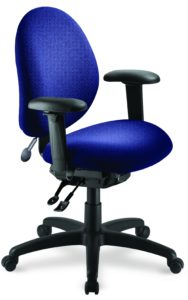 "eCentric Mid Back office chair from ergoCentric. Blue. Equipped with Dedicated Task Mechanism, 4"" Height Adjustable T-Arm, Black Base, Arms, Casters and Air Lumbar."