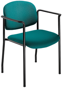 geoCentric Stacker with Arms from ergoCentric. Equipped with Black Frame and Teal Seat