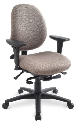 """geoCentric Mid Back office chair from ergoCentric. Beige. Equipped with Synchro Glide Mechanism, 3"""" Height Adjustable Oval Tube Adjustable T-Arms, Black Base, Arms, and Casters."""