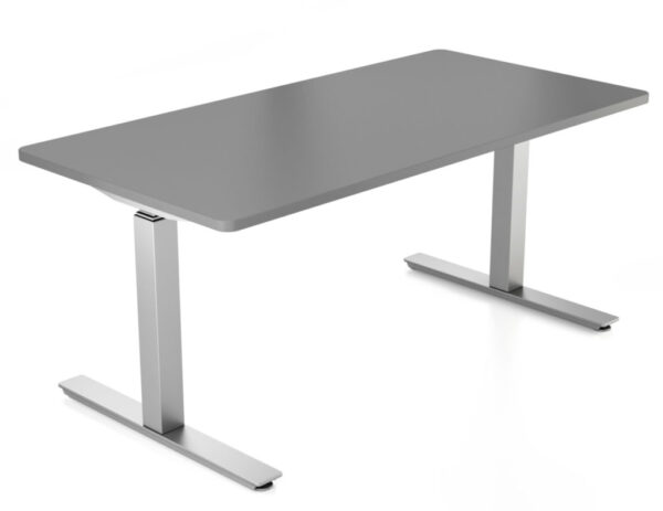 Silver upCentric 2-Leg Height Adjustable Table Frame with Charcoal Rectangular Tabletop