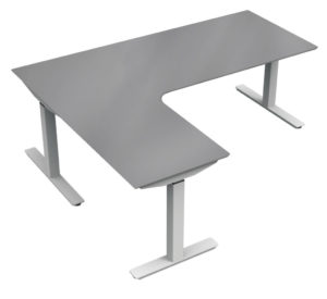 Silver upCentric 3-Leg Height Adjustable Table Frame with Charcoal L-Shaped Tabletop