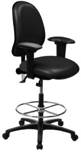 Ergo 2F Chair/Stool from ergoCentric. Black. Equipped with Tilt2 Mechanism, Black Base, Casters and Chrome Footring.