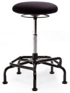 Spider Stool from ergoCentric. Black. Equipped with Ring Height Adjustment, Black Industrial Multi Level Base.