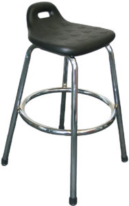 Wipe Down Bench Stool from ergoCentric. Black polyurethane seat with handle. Equipped with Chrome frame.