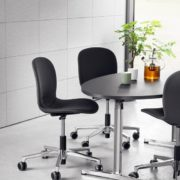 RBM Noor 6070F Fully Upholstered: Innofa Twill Graphite (TLL 326) Cross base: polished aluminum