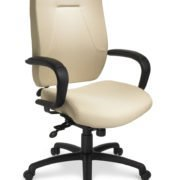 "24Centric office chair from ergoCentric. White Leather. Equipped with 24 Hour Multi Tilt Mechanism, 4"" Height Adjustable T-Arm, Black Base, Arms, and Casters."