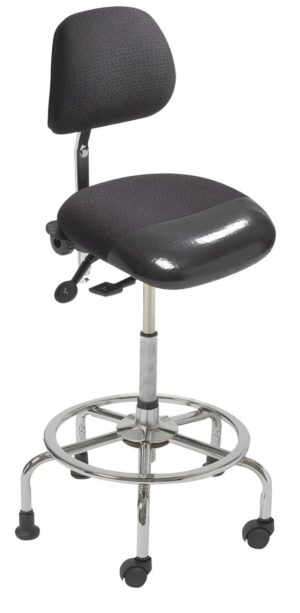 3 in 1 Sit Stand from ergoCentric. Equipped with Tube Mechanism, Chrome Base, Black Seat with No Slip Strip, 2 Casters and 3 Glides
