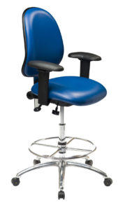 Ergo 2F ESD Chair/Stool from ergoCentric. Blue. Equipped with Tilt2 Mechanism, Chrome Base and Glides.