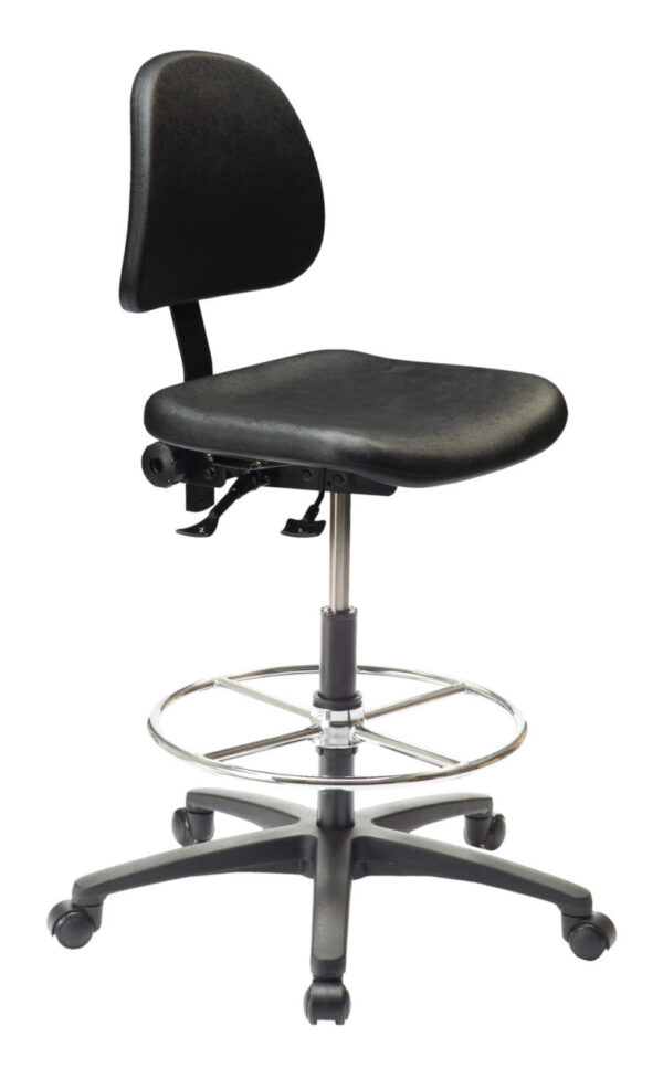 Ergo C Polyurethane Chair/Stool from ergoCentric. Black. Equipped with Standard Mechanism, Black Base and Casters.