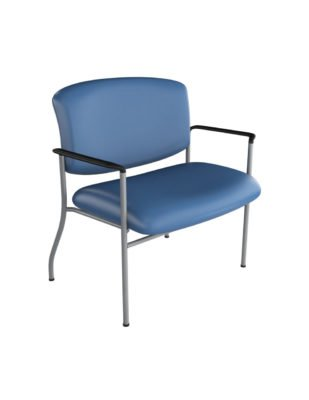 "30"" Bariatric Guest Chair with Arms from ergoCentric. Equipped with Chrome Frame and Blue Seat"