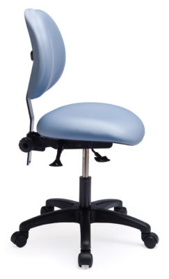 Ergo F Chair/Stool from ergoCentric. Blue. Equipped with Standard Mechanism, Black Base, Casters and Chrome Footring.