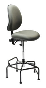 Ind. 2F Industrial Chair/Stool from ergoCentric. Sage. Equipped with Tilt2 Mechanism, Black Industrial Multi-Level Base and Glides.