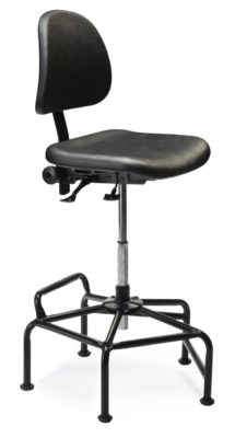 Ind. C from ergoCentric. Black. Equipped with Standard Mechanism, Black Polyurethane Seat and Back, Black Industrial Multi Level Base.