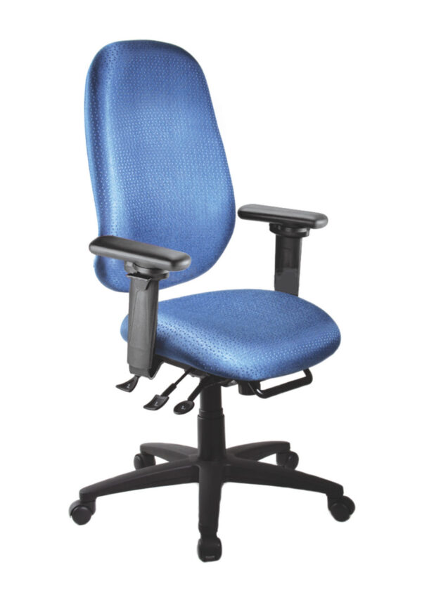 "Saffron High Back Ratchet office chair from ergoCentric. Blue. Equipped with Multi Tilt Mechanism, 4"" Height Adjustable Swivel Arms, Black Base, Arms and Casters."