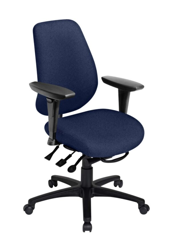 """Saffron Tall Back Ratchet office chair from ergoCentric. Black. Equipped with Multi Tilt Mechanism, 4"""" Height Adjustable Swivel Arms, Black Base, Arms and Casters."""