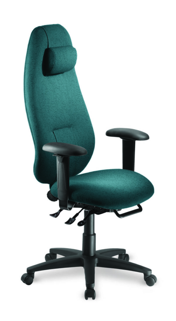"""Saffron Extra High Back with Neck Support office chair from ergoCentric. Teal. Equipped with Multi Tilt Mechanism, 4"""" Height Adjustable T-Arms, Black Base, Arms and Casters."""