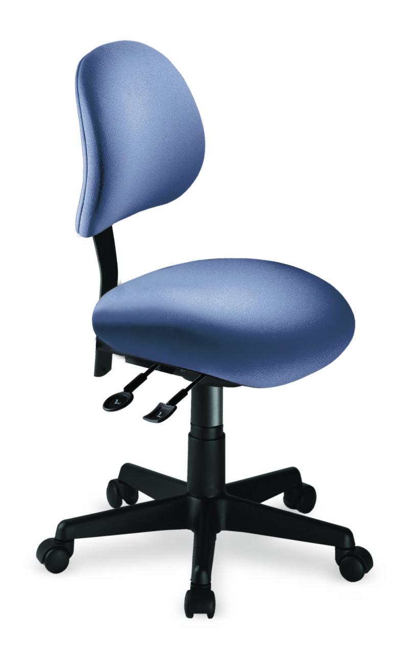 Saffron 1 Back office chair from ergoCentric. Blue. Equipped with Dedicated Task Mechanism, Black Base and Casters.