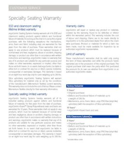 Specialty Seating Warranty