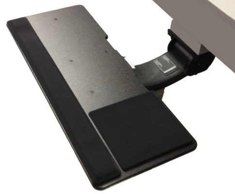 Chameleon Solo Keyboard Tray with Wrist Pad and Mouse Pad.