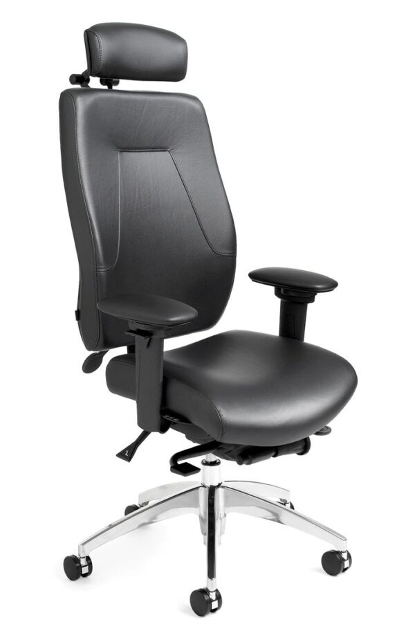 """eCentric Executive office chair from ergoCentric. Black Leather. Equipped with Synchro Glide Mechanism, 4"""" Height Adjustable T-Arm, Black Base, Arms, Casters and Adjustable Headrest."""