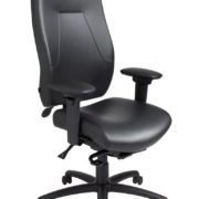 "eCentric Executive office chair from ergoCentric. Black Leather. Equipped with Synchro Glide Mechanism, 4"" Height Adjustable T-Arm, Black Base, Arms, Casters and Adjustable Headrest."