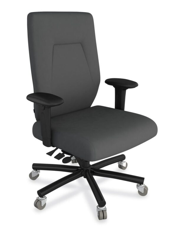 eCentric Executive Heavy Duty chair from ergoCentric. Grey. Equipped with Plus Size Multi Tilt Mechanism, Black Steel Base, Arms, and Dual Wheel Heavy Duty Casters.
