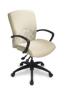ecoCentric III Boardroom chair from ergoCentric. Beige with Design. Equipped with Accent Mechanism, eco III Arms, Black Base and Casters.