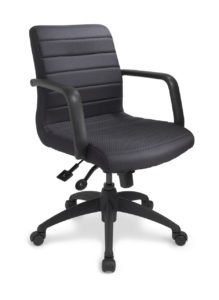 ecoCentric II Mid Back Boardroom chair from ergoCentric. Black. Equipped with Accent Mechanism, eco II Arms, Black Base, and Casters.