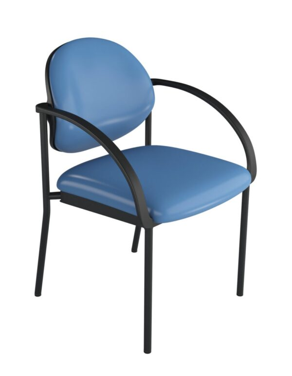 ecoCentric Pivot Back Guest Chair with Arms from ergoCentric. Equipped with Black Frame and Blue Seat