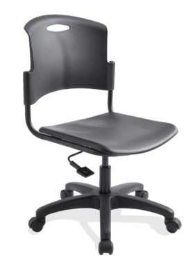 ecoCentric Student chair from ergoCentric. Black Plastic. Equipped with Seat Height Mechanism, Black Base, and Casters.