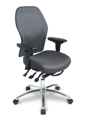 "ecoCentric Mesh office chair from ergoCentric. Black with Mesh Backrest. Equipped with Multi Tilt Mechanism, 4"" Height Adjustable T-Arm, Black Base, Arms, and Casters."