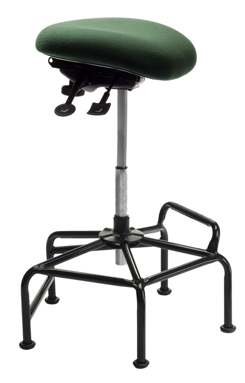 pider Upholstered Sit Stand from ergoCentric. Green. Equipped with Accent Mechanism, Black Industrial Bi-Level Base.