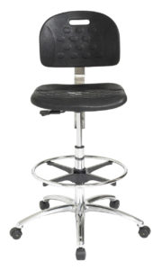 Ergo C ESD Polyurethane Chair/Stool from ergoCentric. Black with Raised Pattern. Equipped with Standard Mechanism, Chrome Base and Footring and Black Casters.