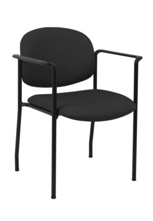 geoCentric Stacker with Arms from ergoCentric. Equipped with Black Frame and Black Seat/Back