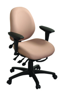 "geoCentric Mid Back office chair from ergoCentric. Beige. Equipped with Synchro Glide Mechanism, 3"" Height Adjustable Oval Tube Adjustable T-Arms, Black Base, Arms, and Casters."