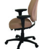 geoCentric Tall Back office chair from ergoCentric. Beige. Equipped with Multi Tilt Mechanism, Oval Tube Adjustable T-Arms, Black Base, Arms, and Casters.