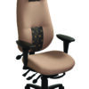 "geoCentric Extra High Back office chair from ergoCentric. Blue. Equipped with Knee Tilt Mechanism, 4"" Adjustable Swivel Arms, Black Base, Arms, Casters and Air Lumbar."
