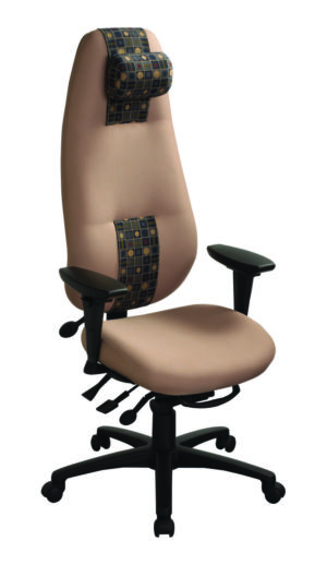 """geoCentric Extra High Back office chair from ergoCentric. Blue. Equipped with Knee Tilt Mechanism, 4"""" Adjustable Swivel Arms, Black Base, Arms, Casters and Air Lumbar."""