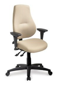 "myCentric office chair from ergoCentric. Beige. Equipped with Multi Tilt Mechanism, 4"" Height Adjustable T-Arm, Black Base, Arms, and Casters."